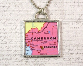 Cameroon Africa Map Pendant Necklace