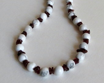 Beaded Necklace with White Howlite, Red Garnet Chips and Sterling Silver, Smokeylady54