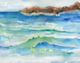 watercolor painting - Aruba original, ocean art, seascape painting 5 x 7, Aruba beach art, seascape watercolor