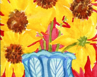 Sunflowers watercolor painting, white and blue vase. original sunflower watercolor original, 4 x 6 floral watercolor, bold sunflowers