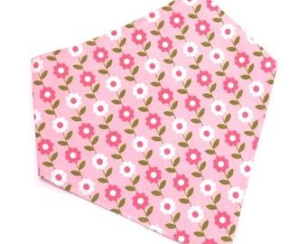 Bandana Bib, Bibdana, Drooler Bib, Baby Bib, Bandana Baby Bib, Bibdana for Girl, Baby Girl Bib, Pink Bandana Bib - PINK FLOWERS