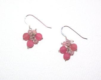 Sibby - Pink jade, rose quartz, and white topaz earrings