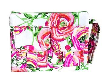 Wristlet Wallet, Fabric Wallet Wristlet, Pink Wristlet Purse, Large Wristlet, Womens Wallet