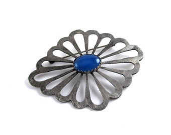 Super Sale! Art Deco Brooch - Nickel Silver and Blue Agate