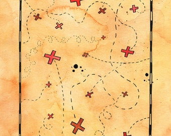 "Abundant Treasure Map / 8"" x 10"" Print / Pirate Map / Nautical Art / Travel Art / Kids Room Art"