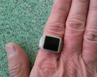 Vintage 1980s Ring Mens Onyx Sterling Silver Size 11 20160123J184
