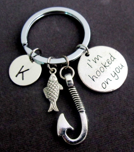 I 39 m hooked on you keychain with fish hook and cute fish for Fish hook keychain
