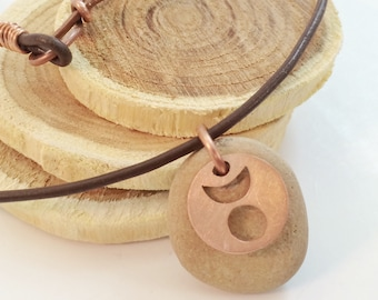Horned God Necklace with Beach Stone (Copper)