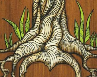 ORIGINAL painting - ROOTS tree Heart