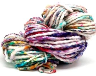 Confetti- 76 yds bulky weight yarn, single ply, superwash merino, nylon, ooak, cowl, scarf, gift, knit, crochet, weave