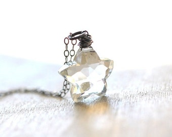 ON SALE Crystal Star Necklace Sterling Silver Star Rock Crystal Star Rock Star Star Necklace, Crystal Necklace Gifts for Women