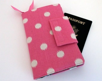 Travel wallet, Passport Organizer Wallet, Smart phone Wallet, Pink Dot with Grey Chevron-Ready to ship