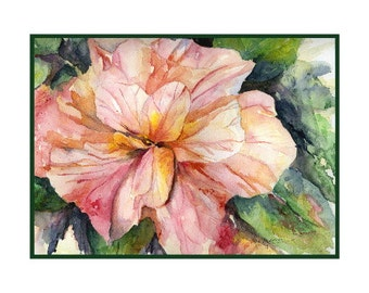 Watercolor Hibiscus Note Cards, Hibiscus Prints, Pink Hibiscus Flowers, Gift Box, Stocking Stuffers, Stocking Stuffer, Hibiscus Lover