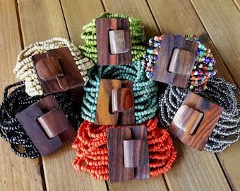 Wholesale Resale Lot 14pc Bohemian natural wood clasp glass bead multi strand bracelet gypsy wide stretch elastic boho chic jewelry