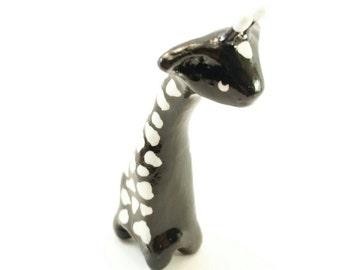 "Little Black Giraffe Clay Figurine ""Darkness"""