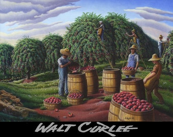 Americana Art, Folk Art Farm Decor, Autumn Apple Harvest Rural Landscape, Farmers Picking Apples Canvas Giclee Print