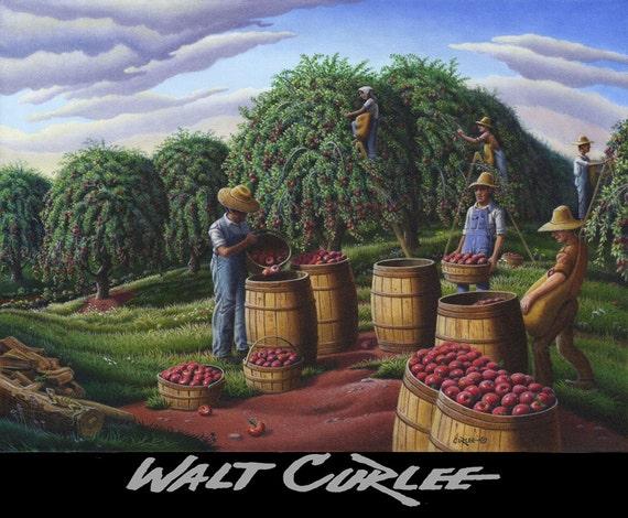 Americana Art, Folk Art Farm Decor, Autumn Apple Harvest Rural Landscape, Farmers Picking Apples Canvas Giclee Print