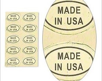"""USA Adhesive Gold and Black Oval Labels """"Made In USA"""" 1/2x5/16"""" 25pcs"""