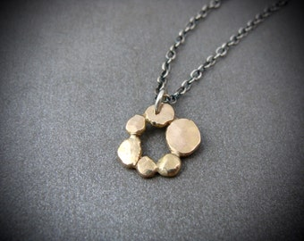 circle of stones … 14k recycled gold pendant