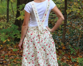 SAMPLE SALE, Size Small, No Ties Apron in Beige with little roses