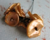 Golden Apricot Corn Flake Pearl Blossom Bead Charms - 1 Pair - 6 pieces