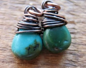 Mini Turquoise Briolette Charms in Antiqued Copper - 1 pair