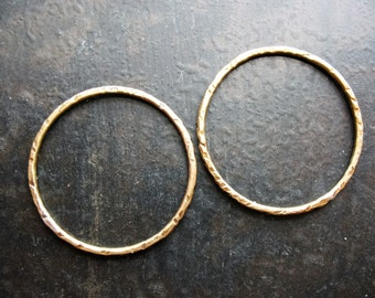 Antiqued Notched Brass Circle Links - 1 pair - 27mm - 16 gauge Soldered Circles