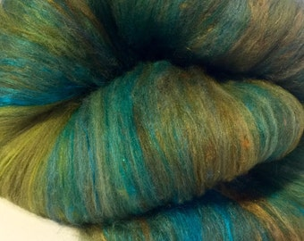 TOTALLY TURQUOISE -merino bamboo silk batts 4 ozs