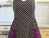 Retro Apron Plus Size Sweetheart Neckline Black and White Tiles with Purple BETTY