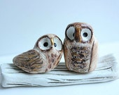 Clay Owls  - Owl Cake Topper - Miniature Hand sculpted Clay Owls - Woodland Owl Cake topper - Miniature Animal Totem Small