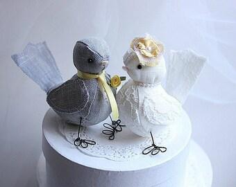 Wedding Cake topper Love Birds - Love Birds Wedding Cake Topper - Fabric Bird cake topper - Customized Order