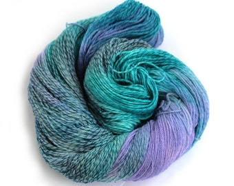 Hand dyed 4ply merino tweed, fingering crochet sock yarn, Perran Yarns, Moonscape turquoise blue lilac purple variegated skein, uk seller