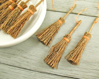 """Miniature Brooms - Natural Wood - Halloween Witch - 3"""" - 4 Pieces"""