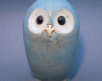 Standing Owl, pale blue satin