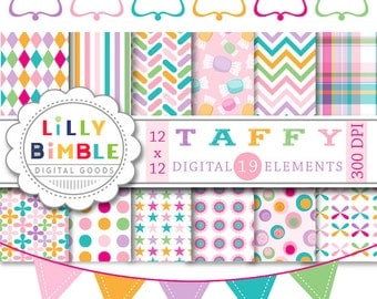 40% off Candy colored pastel digital paper and matching labels, frames for cardmaking TAFFY scrapbook Instant Download