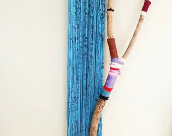 Little Lightning- Bohemian Fringe Necklace- Long Turquoise Necklace- Textile Art- Room Decor- Painted Neclace- Black & Turquoise Necklace