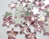Acrylic Rhinestone Cabochon Beads, Faceted, Star, Pink, 10mm, 50pcs