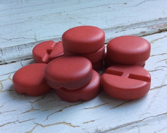 """Vintage Red Buttons,Chunky Set of 10,Smooth Matte Finish,Self Shank,Coat Buttons,Large Button,1"""" in Diameter,New Old Stock,Vintage Seventies"""