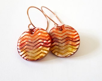 Autumn Leaves Chevron Earrings Copper Earwires