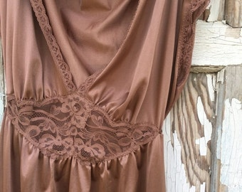 40% FLASH SALE- Chocolate Vintage Nightgown-Elegance-Miss Elaine