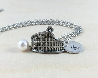 Personalized Coliseum Charm Necklace, Hand Stamped Initial & Birthstone Jewelry, Rome Necklace, Travel Necklace, Silver Coliseum Charm