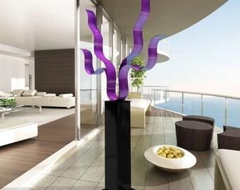 Contemporary Indoor Outdoor Metal Sculpture in Purple, Abstract Garden Statue Decor, Modern Metal Art - Purple Reaching Out 24 by Jon Allen