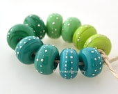 Lampwork Glass Beads Buyer's Choice - Opaque GREEN OMBRE with Fine SILVER Wire Dots or Lines - Artisan Handmade  - taneres