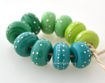 GREEN OMBRE with Fine SILVER Wire Lampwork Glass Beads Buyer's Choice - Choose Dots or Lines - Artisan Handmade  - taneres