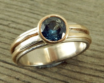 Sapphire Engagement Ring - Fair Trade AA Malawi Blue Sapphire, Recycled 14k Yellow Gold, 18k Palladium White Gold - Wedding Ring - size 6.75
