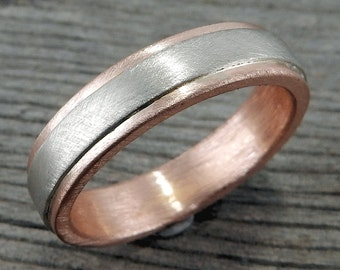 Custom Wedding Band, Recycled 14k White and Rose Gold (Other Colors Available) - Two-Tone - 5mm Wide, Ethical/Eco-Friendly, Made to Order