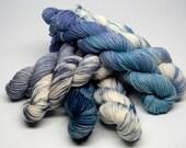 Blueberry Muffins mini skein set of six (6) 20g/93 yard Superwash Merino Nylon blend fingering weight kettle dyed sock yarn blue teal cream