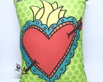 El Corazon Loteria Card Pillow