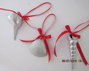 Silver Seashell Ornaments with Bows, you pick ribbon color, 3 Metallic Seashell Decorations, Beach Wedding Favors, Beach Party Prizes