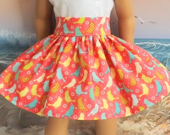 "18"" Inch Doll Skirt Clothes Colorful Birds on a Coral Background Very Fully Gathered 50s Style Skirt with Waistband Medley NEW Style"